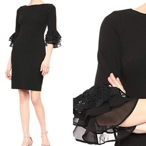 NWT Calvin Klein Black Dress Chiffon Bell Sleeves